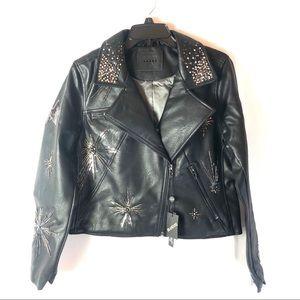 Blank NYC black embellished moto jacket sz large